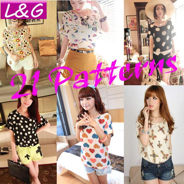 New 2014 Fashion Women Blouses Hot Selling Casual Flower Print Tropical Chiffon Blusas Autumn-Summer Plus Size Shirt Sale 40012(China (Mainland))