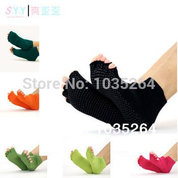 Йога носки пилатес носки 2014 новый 100% хлопок профессиональные Toe носки для женщин