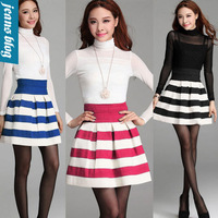 2014 New summer  Fashion Brand women  short  skirts women Sawtooth Black White Stripe stitching  wild Retro Mini Skirt MEF 6210