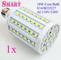 1PC 18w  Led corn bulb 102 Leds E27/E14  D72*H150MM 2000lm 220v  e27 smd5050 led light bulb corn light free P&p