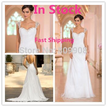 2015 новый пляж свадебные платья платье аппликация бисером сексуальная спинки шифон длиной до пола на складе свадебные платья noiva бесплатная доставка