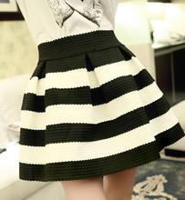 O envio gratuito de moda High cintura das mulheres listradas saias baile Elastic saia Casual curto saias(China (Mainland))