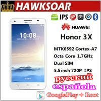 Huawei Honor 3X G750 MT6592 Octa Core 1.7GHz Dual SIM 5.5 inch IPS Android 4.2 Huge battery  5.0MP+13.0MP camera Mobile Phone