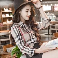 100% cotton summer Fashion shirt women blouse Europe stripe plaid  vintage long sleeve tops for  women clothing ladies blouses