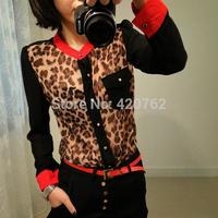 Plus Size 2014 Women Clothing Femininas Blouse Chiffon Long Sleeve Leopard Patterns Patchwork Pocket Shirt