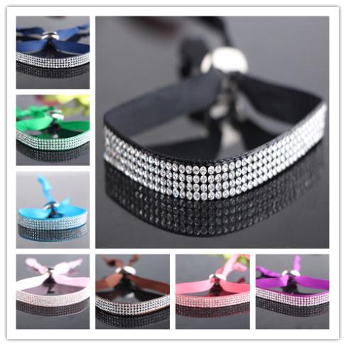 2014 New design Silk Wristband adjustable plenty strass Rhinestone Bead wrap Bracelets(China (Mainland))