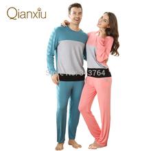 Qianxiu 2014 Spring&Autumn Modern Patchwork Long-sleeve pants Lovers Pajama Set sleep wear home d
