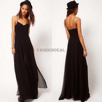 2014 New Women Summer Beach Dresses Sleeveless Spaghetti Strap Chiffon Floor-length Slip Maxi Dress Black M,L,XL 18802