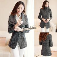 Dropshipping 2pcs/lot 2014 New Winter Women Woolen Coat Faddish Lapel Collar Trench Coat Thick Jacket Plus Size 19906