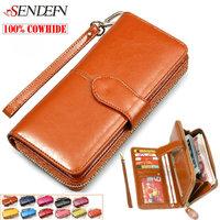 100% Vintage Oil Wax Cowhide Women Wallet Genuine Leather Long Zipper 2014 Women's Wallets Credit Card Holder Money Clutch Purse