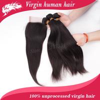 Mixed length malaysian virgin hair straight 3pcs human hair with 1 lace closure free shipping 4pcs lot