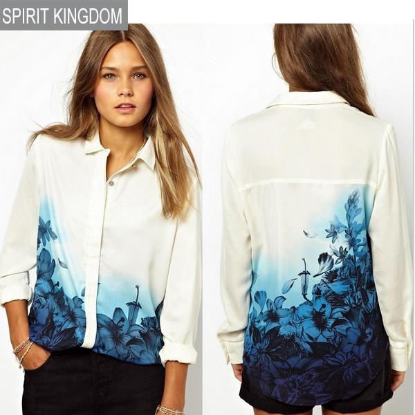 Girls Sweet Blue Floral Pattern Turn down Collar Chiffon summer Blouse Ladies Casual Shirts fashion women blouse 1BL0025(China (Mainland))