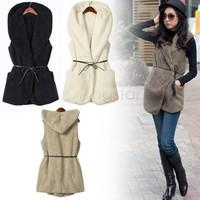 Promotion!! 5 Colors Fashion Womens Ladies Hoodie Long Faux Lamb fox Fur Vest Jacket Coat With Hat B26 7669