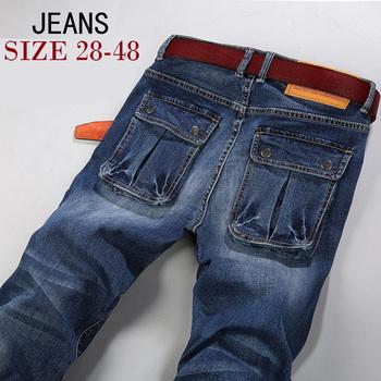 2015 джинсы мужчин Большой размер 40 42 44 46 48 дизайнер хлопок эластичный большие ...