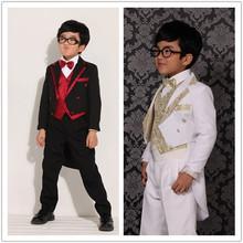 Niños vestido de esmoquin chico traje de la boda del partido de envío gratis de los niños traje de cola de milano niños que arropan 6 piezas(China (Mainland))