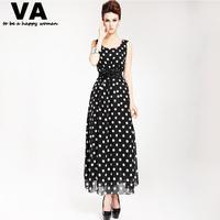 [VA] New 2014 women summer chiffon casual long maxi dresses black and white dot dress woman plus size xl with belt P00072