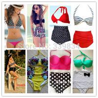 2014 new XXL HIGH WAIST Swimsuit swimwears Vintage Push Up print bikinis set Brand Biquini vs Bathing Suit maillot de bain women