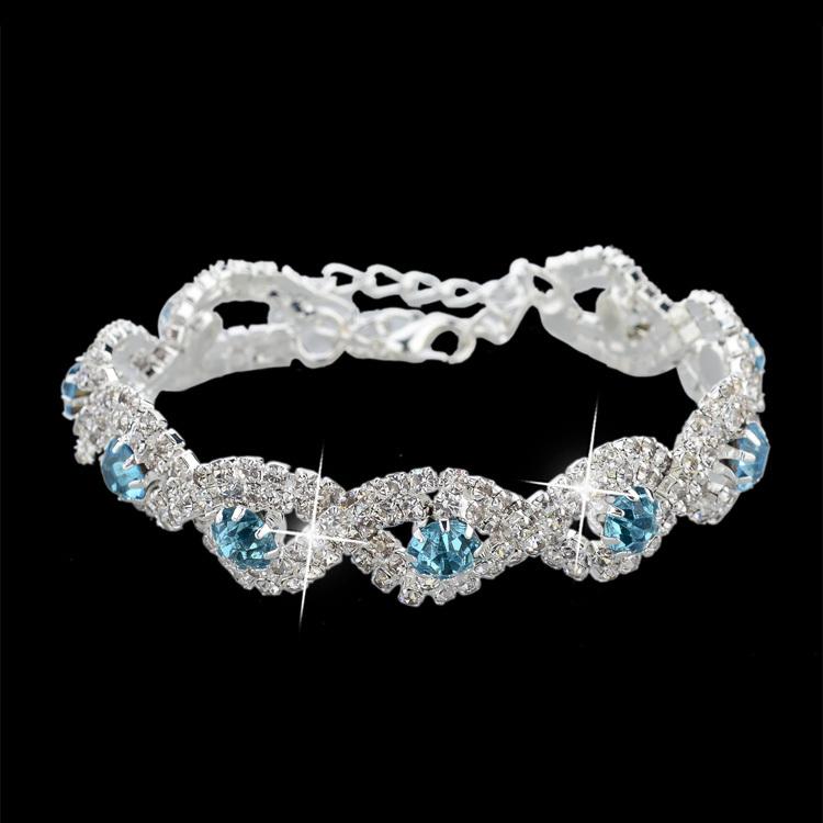 Luxury Wedding Bracelets & Bangles For Women Gold/Silver -Plated Austrian Crystal Bracelets Bangles Fashion Jewelry SBR140169(China (Mainland))