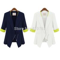 New Fashion Casual Women Ladies Chiffon 3/4 Sleeve Blazer Zipper Chiffon Jacket Cardigan Career Top Free Shipping S M L XL XXL