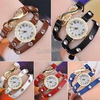 2014 Latest Popular Hawaiian Style Sparkling Rhinestone Charm Long Leather Quartz Watches Women Wristwatches B2 SV000470