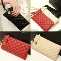 New Arrival!2014 New European style Women Ladies Clutches Long Purse Leather Mini Handbags Zipper Wallet Evening Bag b4 SV002310