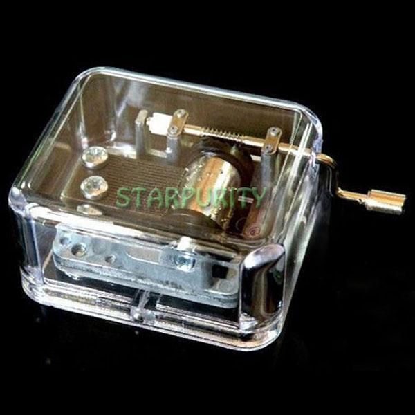 "Transparent Acrylic Case Hand Crank Hurdy Gurdy 18 Note Music Box Play ""Spirited Away "", Kid Toys Birthday Xmas Gift,(China (Mainland))"
