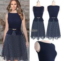 Retail Women Summer Dresses Women's Vintage Celeb Belted Polka Dot Party Wear To Work Chiffon Tunic Dress b7 SV003546