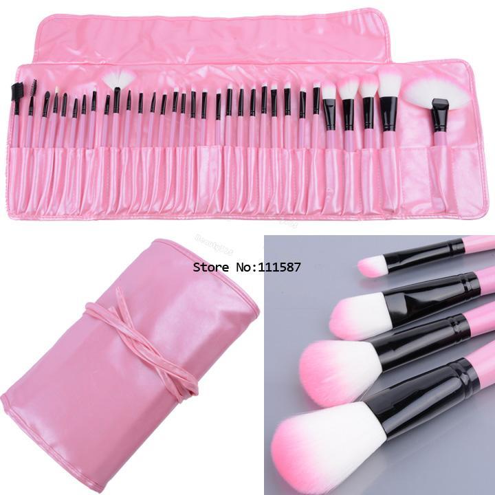 Professional 32 PCS Cosmetics Makeup Brushes Set with Black Zipper Leather Bag, Brand Make Up Brushes, Wholesales #10 SV004464(China (Mainland))