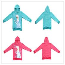Girl Teenage  frozen Elsa coat Long sleeve hoodies sweater  Girls Aqua hot pink cartoon cotton coat  sweater 4-11 Ys(China (Mainland))
