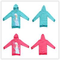 Girl Teenage  frozen Elsa coat Long sleeve hoodies sweater  Girls Aqua hot pink cartoon cotton coat  sweater 4-11 Ys
