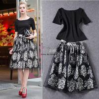 Dropshipping Summer Women Chiffon Skirts Fashion Elegant Floral Printed High Waist Elastic Skirts White, Black b7 SV004929