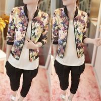 Discount New 2014 High Street Spring Jackets Women Chiffon Short Jacket Slim Long Sleeve Vintage Printed Coat Jackets #3SV005636