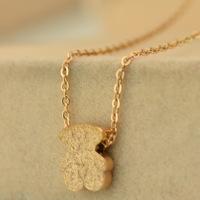 New Hot teddy bear matte rose gold necklace 14 k bear rose gold necklace pendants