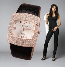 Women's Fashion Watch 2014 New Quartz Wrist watch Analog Crystal Rectangle Dial Rhinestone Watches Lady Leather Casual hours(China (Mainland))