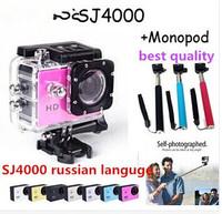 100% 96650 original SJ4000 Action Camera  Diving 30M Water1080P  HD Helmet Camera Underwater Sport Cameras  +  Monopod