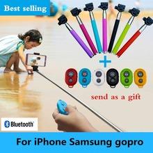 allungabile auto bastone selfie palmare monopiede + holder clip + macchina fotografica bluetooth shutter remote controller per iphone samsung gopro(China (Mainland))