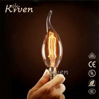 E14 25W Edison Candle Light Bulb Carbon Filament Vintage Retro E2740W 60W Incandescent Thomas Bulb Home Lighting Lamp 110V 220V