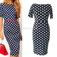 New Women Work Wear Formal Office Dresses Ladies Elegant Casual Bodycon Polka Dot Party Half Sleeve Pencil Dress B22 CB030558