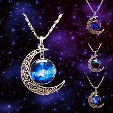 LACKINGONE Fashion Jewelry Choker Necklace Glass Galaxy Lovely Pendant Silver Chain Moon Necklace & Pendant 2014 AliExpress Sale