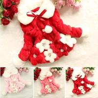 Winter Girls Faux Fur Thick Coat Cute Five Flowers Pattern Girls Warm Outerwear Jacket 3 Colors Drop Shipping B21 SV010614