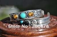 BB-116   Tibetan silver inlaid colorful Natural beads bangle,Nepal vintage handmade open cuff bangls,2014 Spring New