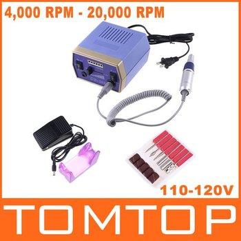 Electric Nail Drill Manicure Tool 6 Bit Pedicure Glazing Manicure File Machine 4000-20000RPM 110-120V 50Hz  with Foot Pedal