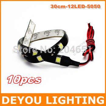 10pcs/lot  30cm 12 LED  5050SMD LED Strip Light  LED flexible bar drl use as LED Daytime Running Lights free sipping