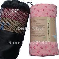 Fedex free ship( 42pcs/lot), skidless Yoga towel with PVC flower dot,  microfiber yoga mat, yogitoes, big size: 24.5x72 inch