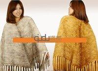 Mink Fur Poncho Jacket Shawl Wrap Tassles Fashion in Stock Hot Sale/Whole Sale/Retail Free Shipping QD10111   A G G