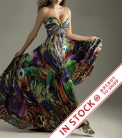 Crazy Selling Printing Fabirc ShinYing Beading  Special Occasion Cocktail Dress Evening OL101580 Handmake