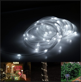 Solar LED string lights+ 100% solar powered+Tube String Light+Waterproof +100 white LED bulbs