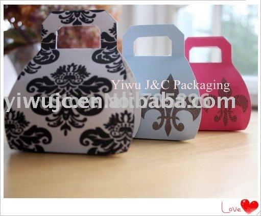 FREE SHIPPING--Damask Mini Handbag Wedding Favor Boxes, mini Purse Box(JCO-00F)(China (Mainland))