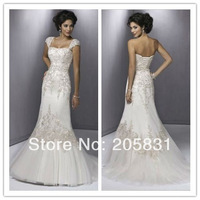 2013 New Free Shipping Mermaid Applique Tulle Cap Sleeves Shinning Beading Ivory White Wedding Dresses OW888291