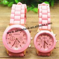 100pcs/lot woman's fashion design geneva silicone watch wholesale girs quartz jelly brand wristwatch hot woman dress watches